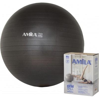 Μπάλα Γυμναστικής AMILA GYMBALL 75cm Μαύρη σε κουτί